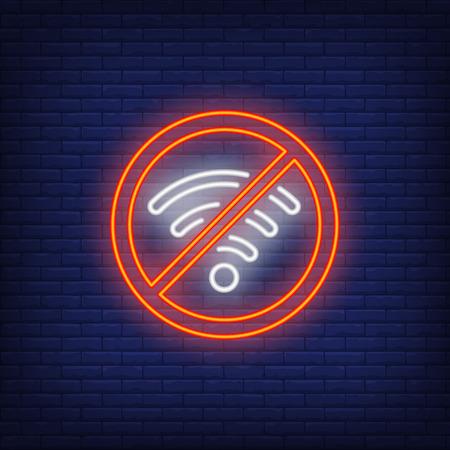 No hay letrero de neón wifi. Señal de red inalámbrica sobre fondo de ladrillo. Anuncio luminoso nocturno. Ilustración de vector de estilo neón para conexión, internet, tecnología