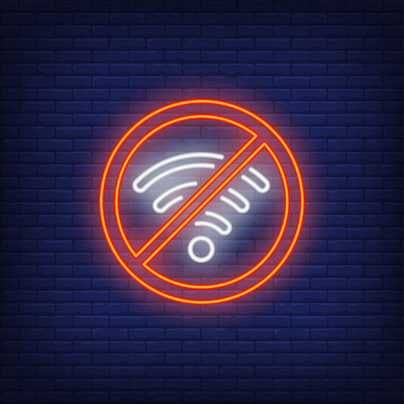 No wifi neon sign. Wireless network signal on brick background. Night bright advertisement. Vector illustration in neon style for connection, internet, technology Ilustração