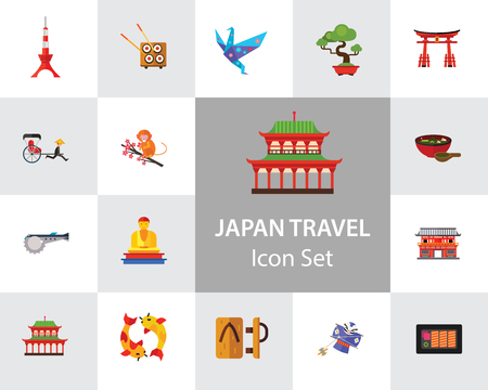 Japan Travel Icon Set. Fuji Mountain Japanese Rickshaw Miso Soup Japanese Macaque Japanese Kite Buddha Statue Tokyo Skytree Tower Yasaka Shrine Sashimi Sushi Set Torii Gate Heijo-kyo