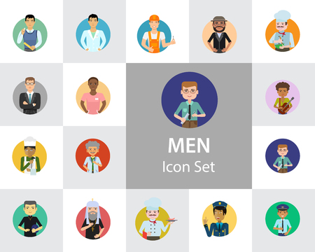 Men vector icon set. Teacher, businessman, scientist, engineer, pilot. Occupation concept. Can be used for topics like professional, vocation, uniform, character Imagens - 127558515