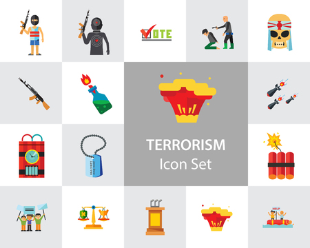 Terrorism Icon Set. Kamikaze Fire Cocktail Dynamite Army Tags Hostage Bomb With Timer Machine Gun Missiles Explosion Refugees Terrorist Shooting Target War Vettoriali