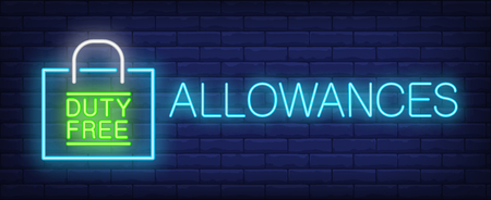 Allowances neon sign. Glowing inscription with duty free paper bag on brick wall background. Can be used for airport, duty free area, shopping