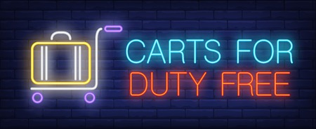 Carts for duty free neon sign. Glowing inscription with baggage cart and suitcase on brick wall background. Can be used for airport, baggage area, information desk, duty free Illustration