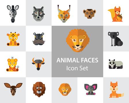 Animal Faces Icon Set. Lion Zebra Hippo Giraffe Wolf Elephant Antelope  Meerkat Doe Ox Red Lynx Bull Head Snout Muzzle Face Stock Vector - 112405964