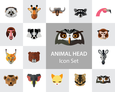 Animal head vector icon set. Cute wild cartoon animals, bear, monkey, lion, elephant, fox. Wildlife concept. Can be used for topics like mammals, zoo, safari, nature Stock Vector - 112405965