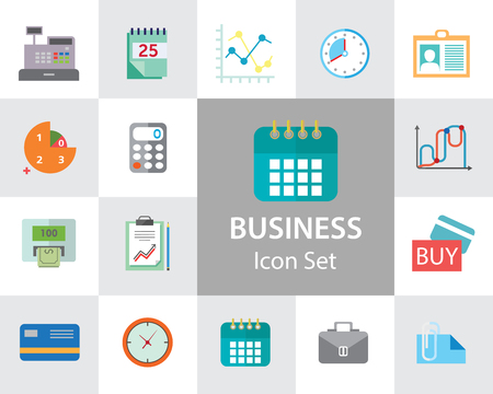 Business icon set. Diagram, paper, payment, calendar. Business concept. Can be used for topics like analysis, finance, accounting, paperwork