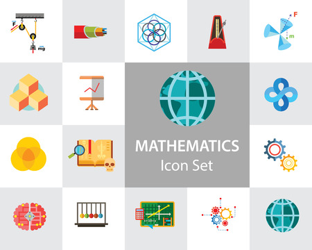 Mathematics Icon Set. Gear Wheel Drawing Metronome With Pendulum Collision Balls Globe Cubes Diagram Philosophy Symbol Logic Concept Algebra Cable Artificial Intelligence Gravity Force Illusztráció