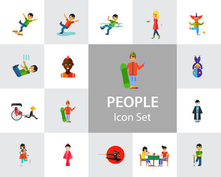 People icon set. Falling down the stairs, slipping, snowboarder, ninja. Extreme activity concept. Can be used for topics like caution, comics, freaks Ilustração