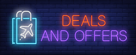 Deals and offers neon sign. Glowing inscription with paper bag on rick wall background. Can be used for airport, shopping, duty free areas Illustration