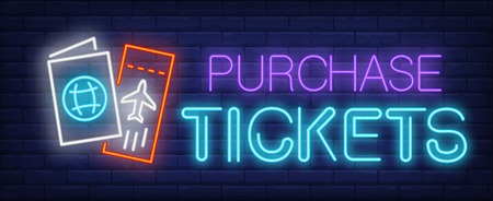 Purchase  tickets neon sign. Glowing inscription with avia ticket and passport on brick wall background. Can be used for travelling, tourism, airport
