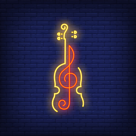 Violin and treble clef neon sign. Classical music, concert or advertisement design. Night bright neon sign, colorful billboard, light banner. Vector illustration in neon style.