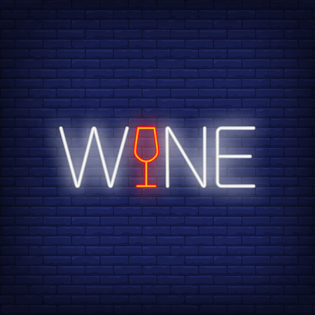 Wine neon text with glass. Winery or advertisement design. Night bright neon sign, colorful billboard, light banner. Vector illustration in neon style.