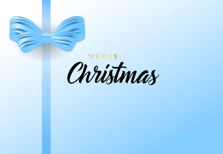 Merry Christmas lettering and blue bow. Christmas greeting card or cover design. Handwritten text, calligraphy. For leaflets, brochures, invitations, posters or banners.