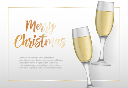 Merry Christmas lettering in frame and goblets with champagne. Christmas greeting card. Handwritten text, calligraphy. For leaflets, brochures, invitations, posters or banners.