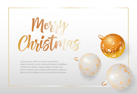Merry Christmas lettering in frame with baubles. Christmas greeting card. Handwritten text, calligraphy. For leaflets, brochures, invitations, posters or banners.
