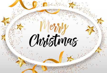 Merry Christmas lettering in oval frame with ribbons and stars. Christmas greeting card. Handwritten text, calligraphy. For leaflets, brochures, invitations, posters or banners.