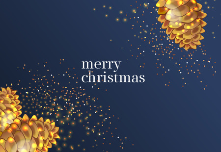 Merry Christmas lettering with gold cones. Christmas greeting card. Typed text, calligraphy. For leaflets, brochures, invitations, posters or banners.