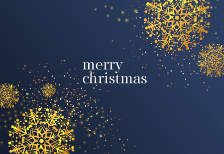 Merry Christmas lettering with gold snowflakes. Christmas greeting card. Typed text, calligraphy. For leaflets, brochures, invitations, posters or banners.