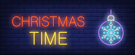 Christmas time neon text with bauble. Christmas advertisement design. Night bright neon sign, colorful billboard, light banner. Vector illustration in neon style. Illustration