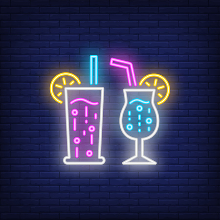 Exotic cocktails neon sign. Summer and vacation design. Night bright neon sign, colorful billboard, light banner. Vector illustration in neon style.