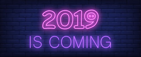 Two thousand and nineteen is coming neon sign. Glowing inscription with year date and piggy nose on brick wall background. Vector illustration can be used for New Year, celebrating, greeting  イラスト・ベクター素材