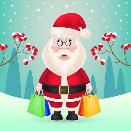 Christmas poster design. Cartoon Santa Claus holding shopping bags, winter landscape in background. Illustration can be used for sale banners, flyer, greeting cards