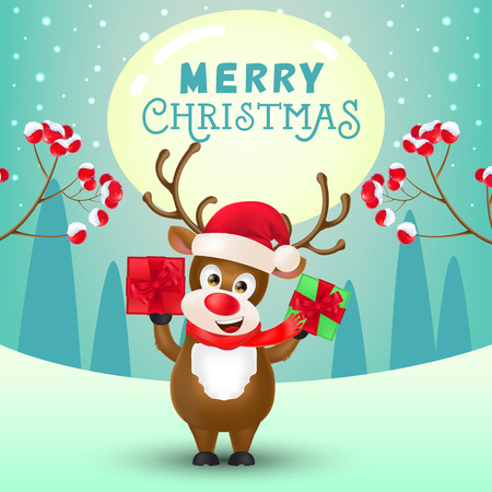 Christmas poster design. Cheerful reindeer in Santa hat holding gifts, spurs with berries and winter landscape in background. Illustration can be used for sale banners, flyer, greeting cards