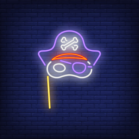 Pirate mask on stick neon sign. Masquerade design. Night bright neon sign, colorful billboard, light banner. Vector illustration in neon style. Vecteurs