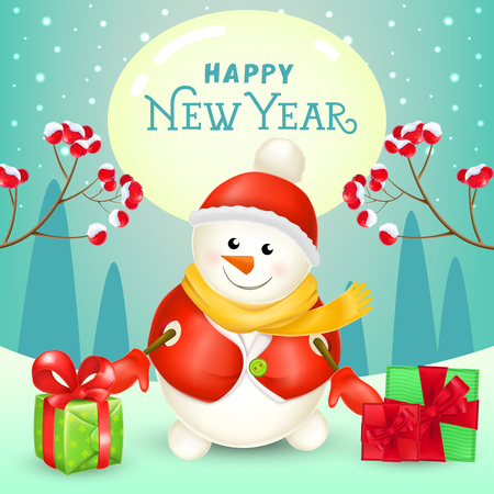 New Year poster design. Cheerful snowman with gifts, spurs with berries and winter landscape in background. Illustration can be used for sale banners, flyer, greeting cards