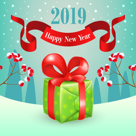 New Year poster design. Green gift box with red ribbon, spurs with berries, text on full moon and winter landscape in background. Illustration can be used for banners, flyer, greeting cards