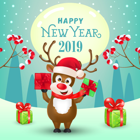 New Year poster design. Joyful reindeer showing gifts, spurs with berries and winter landscape in background. Illustration can be used for sale banners, flyer, greeting cards