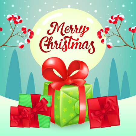 Christmas poster design. Pile of gifts with red ribbons, spurs with berries, text on full moon and winter landscape in background. Illustration can be used for banners, flyer, greeting cards