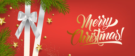 Merry Christmas bright red leaflet design with silver ribbon. Golden calligraphy with silver ribbon, fir needles and golden stars. Can be used for posters, postcards, greetings
