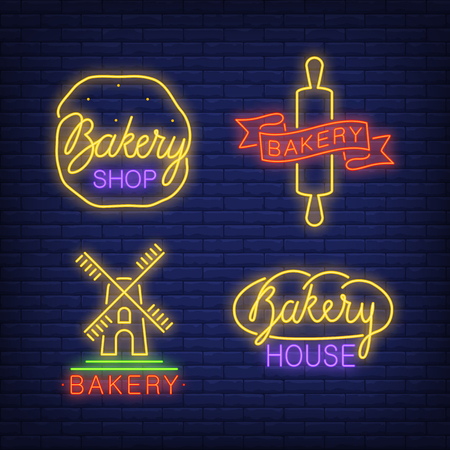 Bakery shop neon sign set. Loaf of bread, mill, dough, rolling pin on brick wall background. Vector illustration in neon style for topics like food, pastry, bakery house, cafe