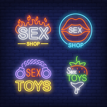Sex shop neon sign set. Fire flame, lips, handcuffs, strawberry on brick wall background. Vector illustration in neon style for retail banners and online stores