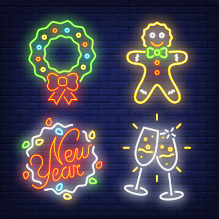 New Year neon sign set. Wreath, gingerbread, fairy lights, couple of flutes on brick wall background. Vector illustration in neon style for topics like party, holiday, celebration