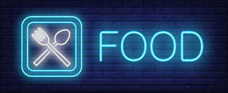 Food neon sign. Glowing inscription with fork, spoon and plate on brick wall background. Vector illustration can be used for cafe, restaurant, food