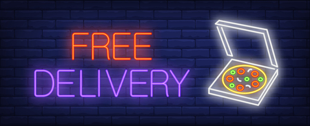 Free delivery neon sign. Glowing inscription with carton pizza box on brick wall background. Vector illustration can be used for snack bar, cafe, night advertisement