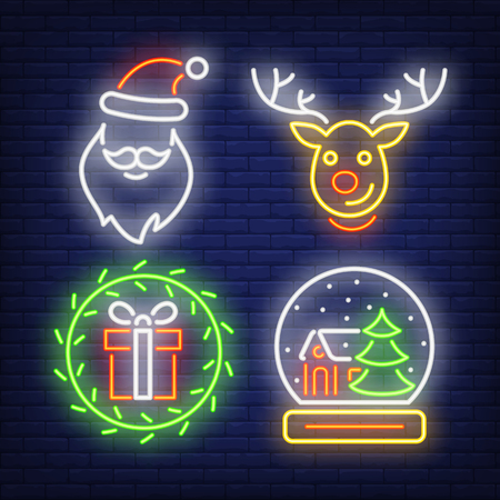 Christmas neon signs set with gift, reindeer, Santa Claus hat and beard. Christmas and New Year Day design. Night bright neon sign, colorful billboard, light banner. Vector illustration in neon style. Stock Illustratie