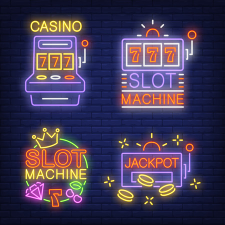 Slot machine neon signs set with text. Casino advertisement design. Night bright neon sign, colorful billboard, light banner. Vector illustration in neon style.
