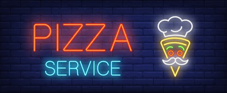 Pizza service neon sign. Glowing inscription with funny pizza slice in form of cooker face on brick wall background. Vector illustration can be used for pizzeria, cafe, fast food