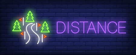 Distance neon sign. Glowing inscription with fir tree, red flags on brick wall background. Vector illustration can be used for sport, competition, skiing