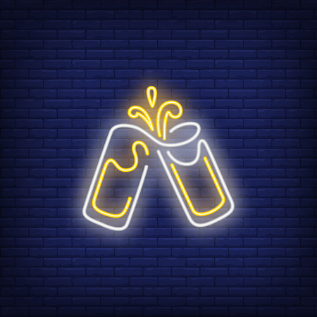 Two clinking glasses with splash neon sign. Celebration design element. Night bright neon sign, colorful billboard, light banner. Vector illustration in neon style.