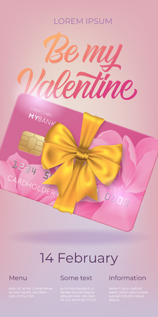 Be my Valentine lettering and credit card with bow. Saint Valentines Day poster or coupon. Handwritten text, calligraphy. For leaflets, brochures, invitations, posters or banners. Vettoriali