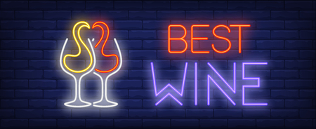 Best wine neon text with red and white splashes in glasses. Wine tasting or advertisement design. Night bright neon sign, colorful billboard, light banner. Vector illustration in neon style.