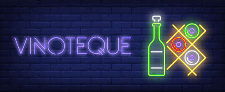Vinoteque neon text with wine bottles on racks. Winery and wine collection design. Night bright neon sign, colorful billboard, light banner. Vector illustration in neon style.