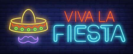 Viva la fiesta neon text with festive sombrero and moustache. Mexican culture and celebration design. Night bright neon sign, colorful billboard, light banner. Vector illustration in neon style.