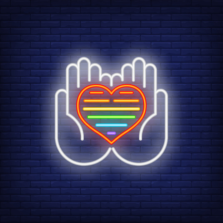 Gay heart neon sign. Glowing hands holding rainbow heart on brick wall background. Vector illustration can be used for topics like gender difference, social, psychology