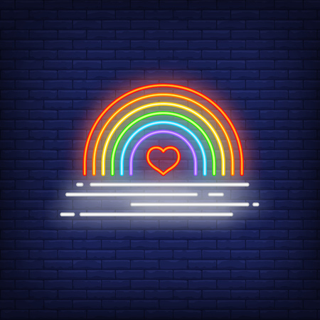 Bright rainbow neon sign. Glowing colorful neon rainbow and heart on brick wall background. Vector illustration can be used for topics like gender difference, social, psychology