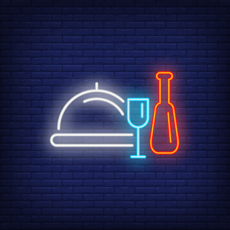 Dishes neon sign. Glowing white dish, red bottle and blue bottle on brick wall background. Vector illustration can be used for topics like cooking, dinner, kitchen